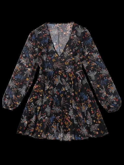 lady Semi Sheer Floral Print Chiffon Dress - FLORAL XL Mobile