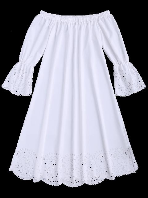 unique Laser Cut Midi Off The Shoulder Dress - WHITE S Mobile