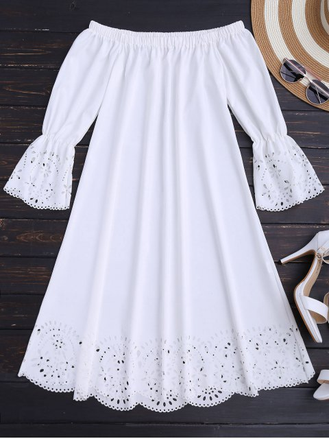 buy Laser Cut Midi Off The Shoulder Dress - WHITE XL Mobile