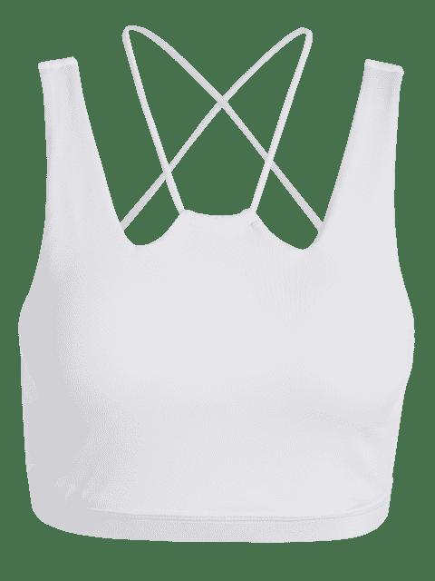 best Straps Cross Back Padded Sporty Bra - WHITE L Mobile