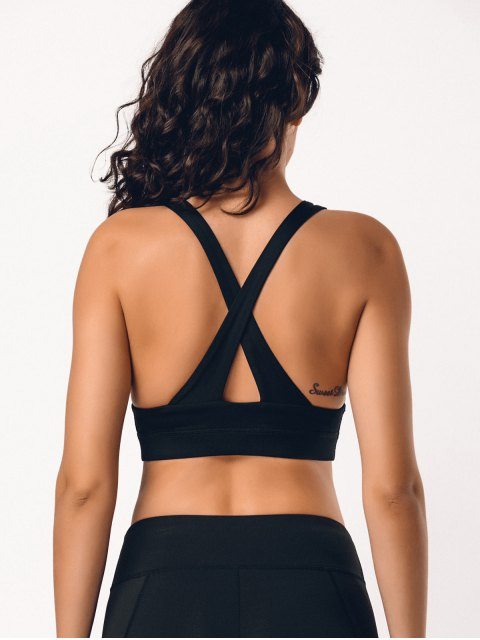 outfit Cross Back Ladder Cut Padded Sporty Bra - BLACK L Mobile