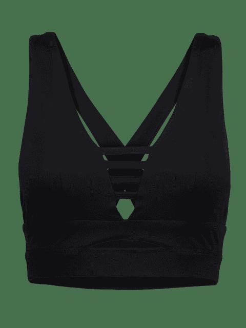 outfits Cross Back Ladder Cut Padded Sporty Bra - BLACK M Mobile
