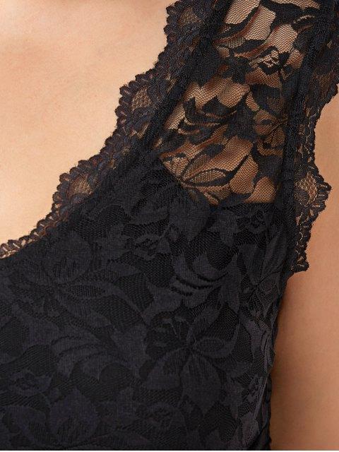 fancy Lace Panel Plus Size Ruched Top - BLACK 2XL Mobile