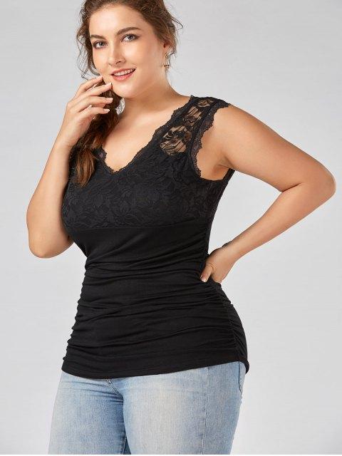 Panneau en dentelle Plus Size Ruched Top - Noir 2XL Mobile