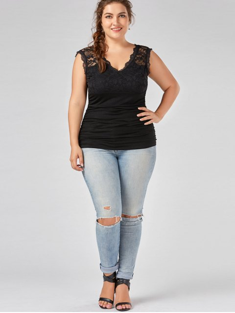 affordable Lace Panel Plus Size Ruched Top - BLACK 5XL Mobile