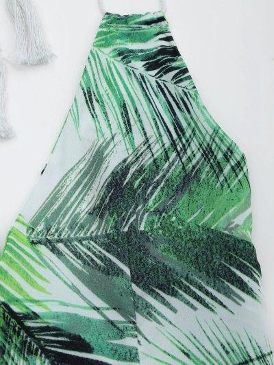 Halter Open Back Leaves Print Romper от Zaful.com INT