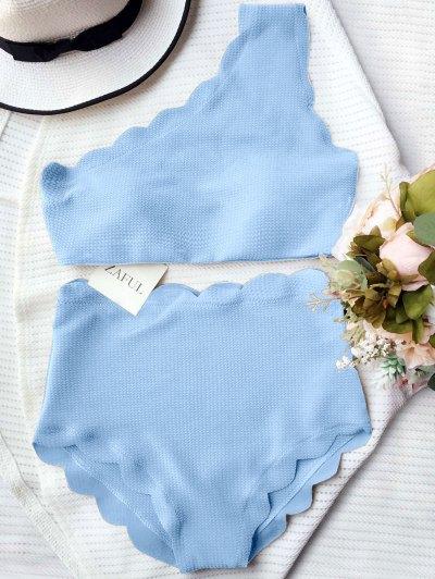 Bikini à épaule Taille Haute - Bleu Clair S