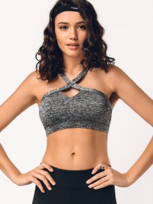 Cross Front Heathered Sporty Bra