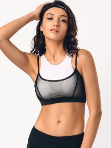 Two Tone Mesh Panel Racerback Sporty Bra
