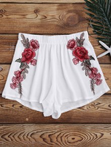Elastic Waist Floral Applique Cover Up Shorts