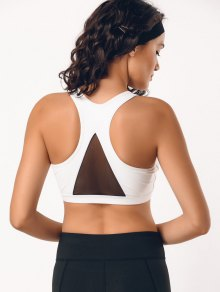 Padded Mesh Panel Racerback Sporty Bra