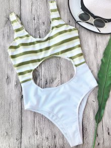 Striped Cut Out One Piece Swimsuit - White L