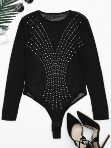 Sheer Rhineston Embellished Bodysuit