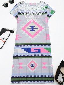 Lace Panel Geometric Print Shift Dress