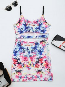 Printed Cut Out Cami Dress