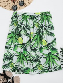 Leaves Print Knee Length Flare Skirt