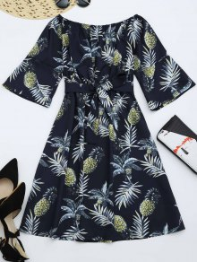 Pineapple Print Belted Dress