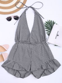 Halter Open Back Ruffle Checked Romper