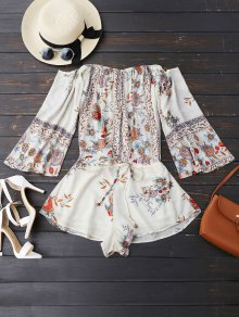 Off Shoulder Floral Drawstring Playsuit