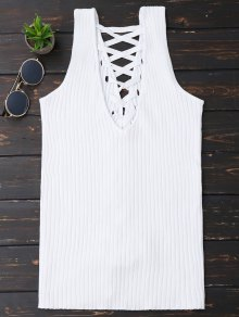 Ribbed V Neck Back Lace Up Tank Top