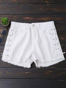 Frayed Hem Side Lace Up Denim Shorts - White S