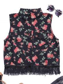 Fringes Sleeveless Floral Shirt