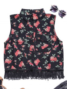 Fringes Sleeveless Floral Shirt