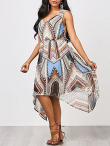 Hanky Hem Patchwork Print Chiffon Dress