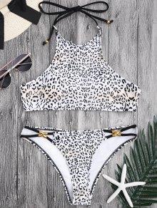 Metal Leopard Print Halter Bikini