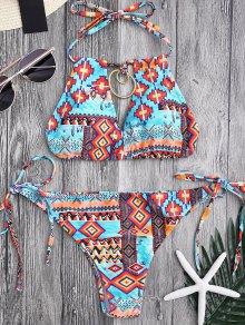 Metal Tribe Pattern String Bikini Set