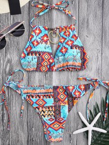 Metal Tribe Pattern String Bikini Set