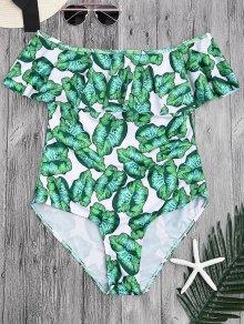 Ruffles Hoja Imprimir El Traje De Baño De Hombro - Verde M