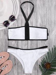 Padded Two Tone Bandage Bikini Set