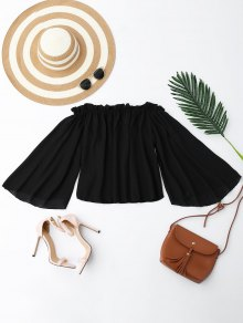 Chiffon Off The Shoulder Ruffles Blouse - Black S