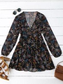 Robe En Mousseline De Soie Semi Imprimée - Floral M