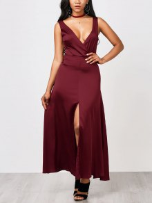 Front Split Maxi Satin Evening Dress - Burgundy S