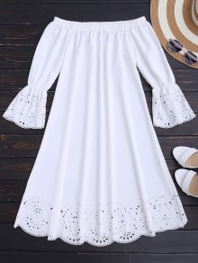 Laser Cut Midi Off The Shoulder Dress - White M