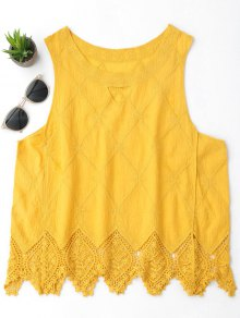 Cotton Blend Lace Geometric Scalloped Tank Top