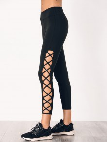 Stretchy Strappy Side Sporty Leggings - Black S