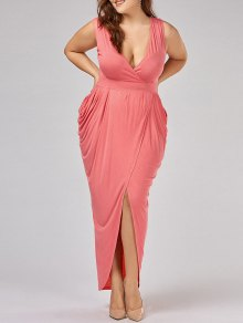 Plus Size Ruched Maxi Surplice Drape Dress - Orangepink 5xl