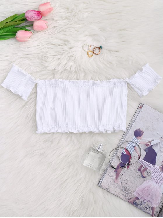 trendy Off Shoulder Rib Textured Ruffled Crop Top - WHITE ONE SIZE