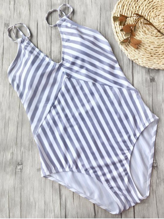 chic Slimming Striped Strappy One Piece Swimsuit - WHITE AND PURPLE S