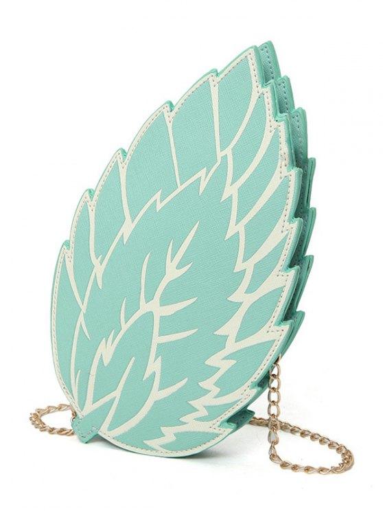 lady Summer Chain Strap Leaf Crossbody Bag - BLUE GREEN