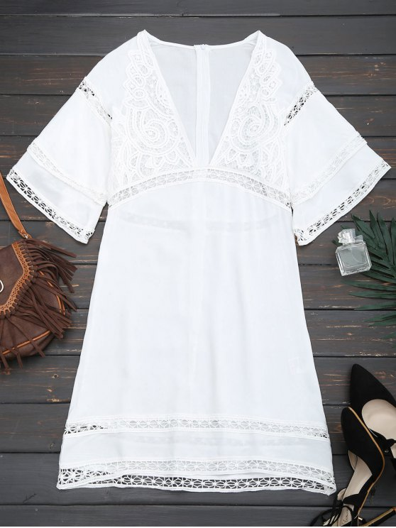 outfits Crochet Plunge Beach Kaftan Cover Up - WHITE L