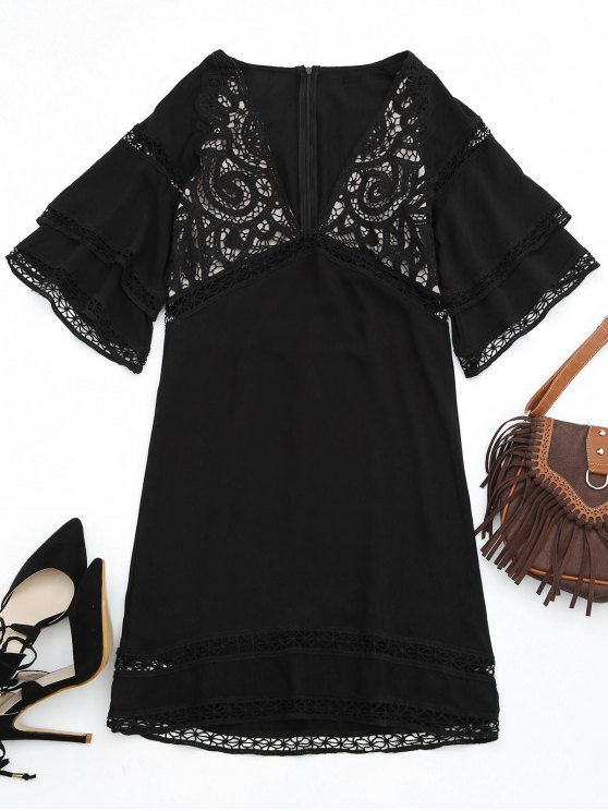 fashion Crochet Plunge Beach Kaftan Cover Up - BLACK S