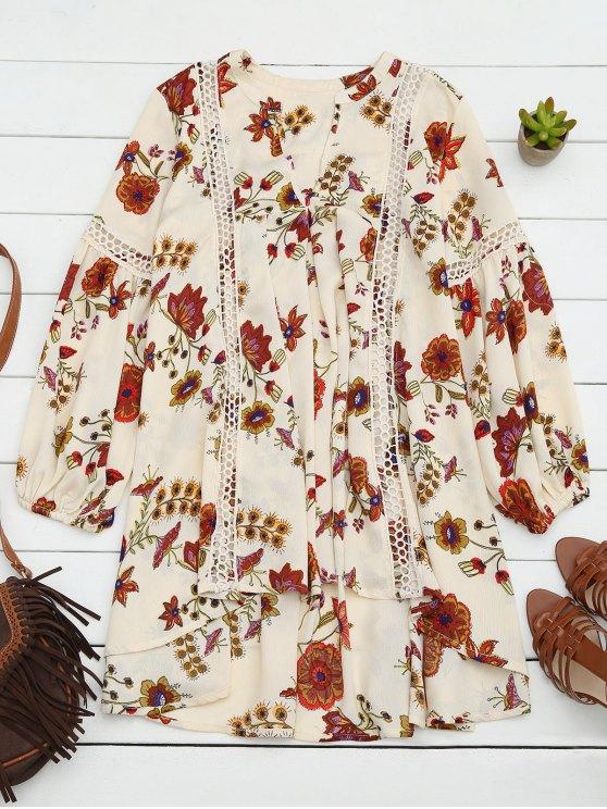 Robe courte imprimée floral avec ourlet asymétrique - RAL1001Beige S