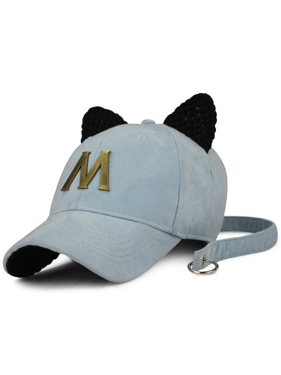 fancy Metal Letter Cat Ear Embellished Long Tail Hat - LIGHT BLUE