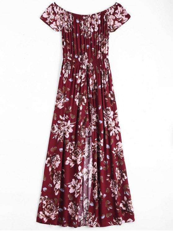 Impresión floral del vestido asimétrico del hombro - Vino Rojo S