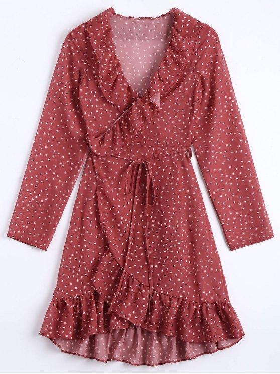 affordable Star Print Ruffle Hem Wrap Dress - DARK RED S