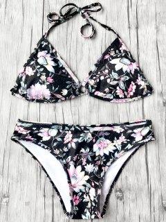 Halter Plunge Floral Bikini Top And Bottoms - Black M